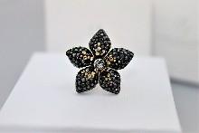 """028 Пръстен """"Черно цвете"""""""
